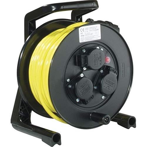 JUMBO® XS Kabeltrommel mit 3 Steckdosen H07BQ-F Leitungsfarbe gelb, Querschnitt 3 x 1,5 mm², Länge 20 m