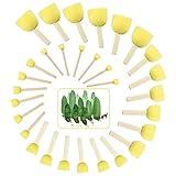 EMAGEREN 30 Piezas Pincel de Esponja Redonda Esponja para Pintar Esponja de Pintura Amarilla Brochas de Esponja Pintura de 5 Tamaños Diferentes Herramientas para DIY Pintar/Barniz/Manualidades