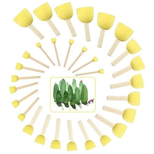 BUZIFU Schwammstupf Pinsel, 30er-Pack Schaumstoffpinsel Stupf-Pinsel Tupfpinsel Runde Schwämme Pinsel Set für Anstriche und Lackierungen aller Art, Heimwerken, Basteln, 5 Verschiedene Größen, Gelb