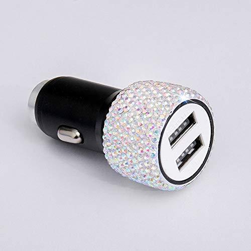 Cargador de coche MCY diamante dual del coche del USB de carga del teléfono móvil Seguridad Martillo Cargador (blanco) (Color : AB illusion)