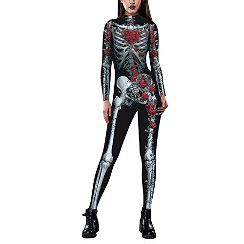 Petalum Damen Halloween Kostüm Overall Jumpsuit Langarm Skelett Bodysuit Fasching Karneval Cosplay Unheimlich Schädel Kleid