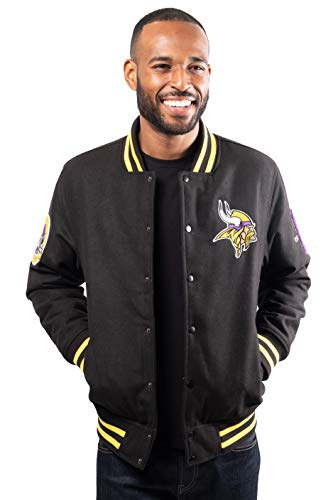 Ultra Game NFL Minnesota Vikings Mens Classic Varsity Coaches Jacket, Team Color, Large