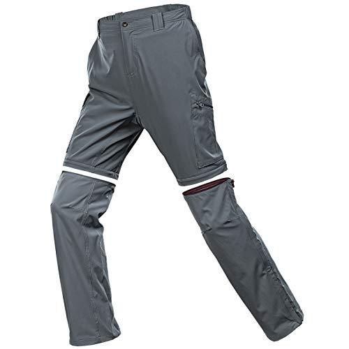 33,000ft Wanderhose Herren Zip Off Stretch Outdoorhose mit 6 Taschen, Trekkinghose Sommer Ultraleichte Shorts Funktionshose Atmungsaktive Outdoor Kurze Hose Grau 34/32