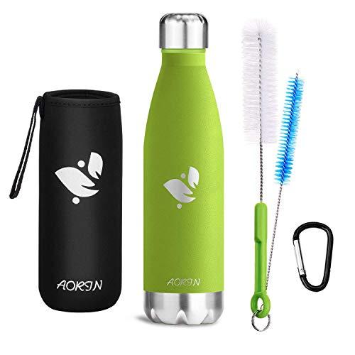 Aorin Vakuum-Isolierte Trinkflasche aus Hochwertigem Edelstahl - 24 Std Kühlen & 12 Std Warmhalten Pulverlackierung Kratzfestigkeit Leicht zu reinigen. (Apfelgrün-500ml)