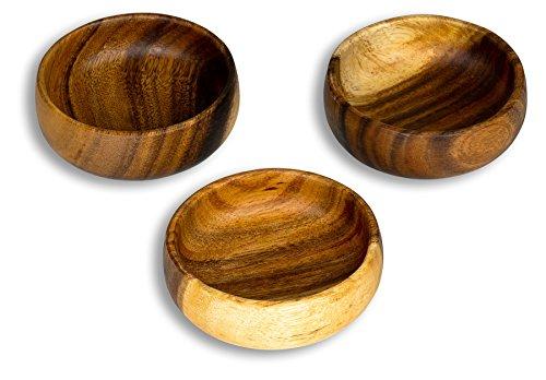levandeo 3er Set Snackschale Holz Akazie 10x3cm Rund Schale Obstschale Dekoschale Deko Tischdeko Akazienholz Holzdeko Aufbewahrung Ordnung