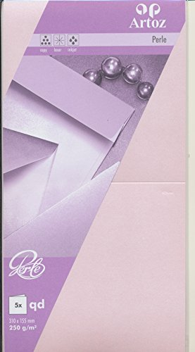 Artoz Papier AG - Doppelkarte Perle quadratisch 155x155mm 5er-Pack ballerina