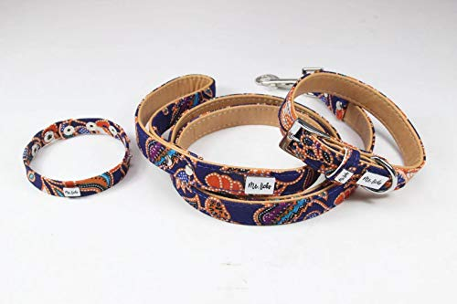 Mr. Licks Dog Collar and Leash Plus Matching Bracelet for You: 3 Piece Friendship Set for You and Your Furry Friend - Canvas Leather Material. Color - Christmas Eve (M)