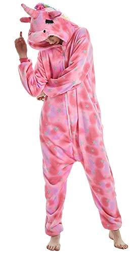 CozofLuv Tier Pyjamas Kostüm Nachtwäsche Cosplay Kostüme Einhorn Rentier Pyjamas für Erwachsene Anzug Outfit (Rosa Einhorn, S (148-158cm))