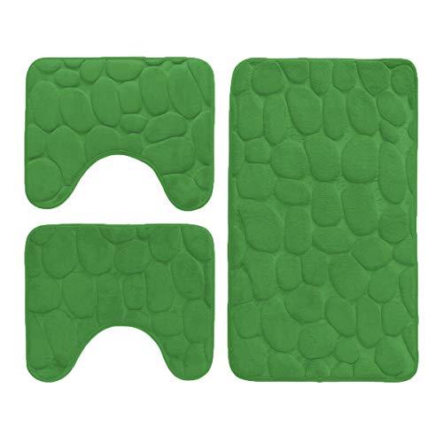 DEMONA SET 3 PEZZI COMPLETO TAPPETI BAGNO SASSI CUORI MEMORY FOAM ANTISCIVOLO MORBIDI 3D VARI COLORI TAPPETINI SPEDIZIONE GRATUITA OFFERTA (TBS-7/Verde)