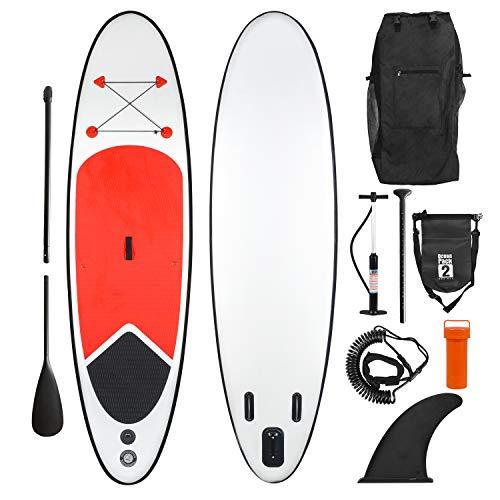 Ribelli Opblaasbaar Stand Up Paddling Board – met rugzak, peddel, 3 vinnen, luchtpomp, reparatieset en enkelband – gewicht ca. 12 kg – Paddle Board in rood en wit – max. Belastbaarheid 150 kg, padddleboard: XXL 320 x 84 x 15 cm.