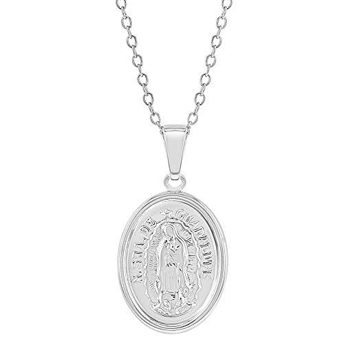 Collar con medalla de la Virgen María de Guadalupe de plata de ley 925, para niños, 40,6 cm