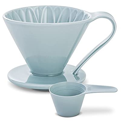 Pour Over Coffee Dripper by Sanyo Sangyo: Porcelain Ceramic 1-to-4 Cup Brewer In 5 Beautiful COLORS | Unique Drip Coffee Maker For Fresh Filter Coffee–Elegant Smart Design: Better Brewing (Blue)