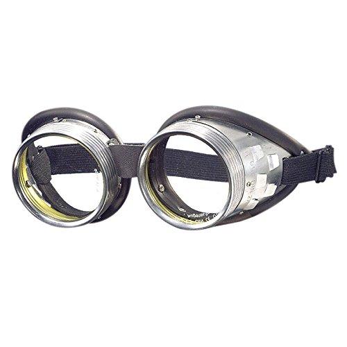 Schraubringbrille mit Schlauchgummipolster 50mm Glasdurchmesser, Gläser klar oder grün getönt DIN 4-6, Minion-Brille - Schutzbrille, Schweißerbrille, Schweißbrille, Schweißschutzbrille, Schutzstufe:klar