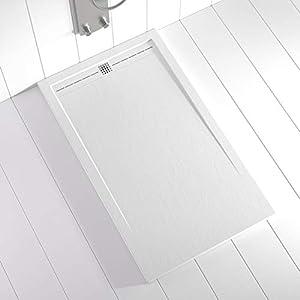 Shower Online Plato de ducha Resina FLOW - 70x110 - Textura Pizarra - Antideslizante - Todas las medidas disponibles - Incluye Rejilla Color Blanco y Sifón - Blanco RAL 9003