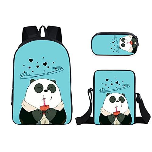 GD-SJK Amacigana - Mochila infantil con dibujos animados de anime panda (3 piezas, bolsa de deporte impresa en 3D, 100% microfibra), 3, 17 pulgadas,
