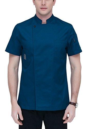 AIEOE Blouse de Cuisinier Uniforme Homme Coton Respirant Poches Veste de Cuisine Chef Professionnel Boutons Disimulés Manches Courtes pour Restauration Hôtel Taille M - Bleu Foncé