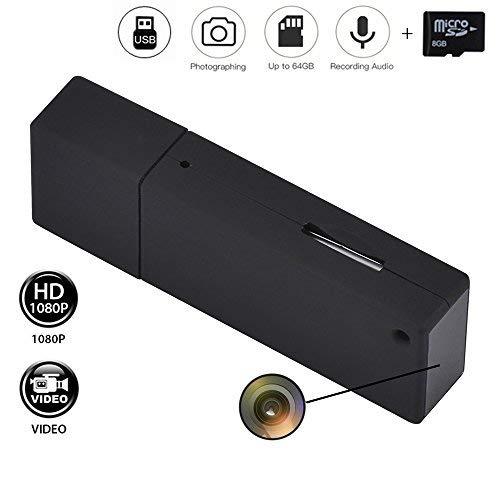 Llavero USB no portátil mini USB espía cámara de vídeo HD 1080P 16 GB Micro vídeo Grabador con sonido Codomoxo (B, negro)