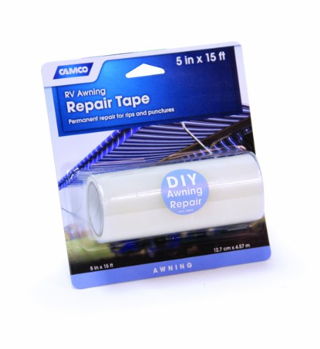 """Camco 5"""" x 15' Awning Repair Tape - Repairs Rips and Punctures in Your RV or Camper's Awning 