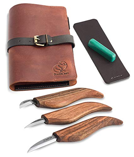 BeaverCraft Deluxe S15X Wood Carving Whittling Knives Set with Leather Case - Whittling Kit Premium Wood Carving Tools with Leather Strop and Polishing Compound - Chip Carving Knives Set