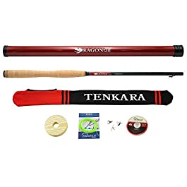 DRAGONtail Tenkara Shadowfire 36012'Tenkara Fly Canne à pêche Plus Complete Starter Package–Mouches, Fonde, Tippet, Line, Support de Tube de Rangement, et Tige Chaussette