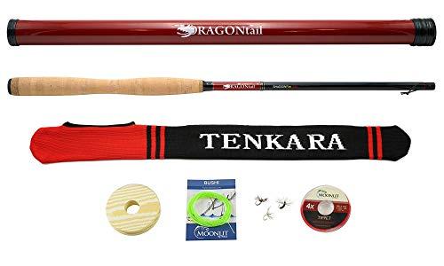 DRAGONtail Tenkara Shadowfire 360 12' Tenkara Fly Fishing Rod PLUS Complete Starter Package - Flies, Leader, Tippet, Line Holder, Storage Tube, and Rod Sock by DRAGONtail Tenkara