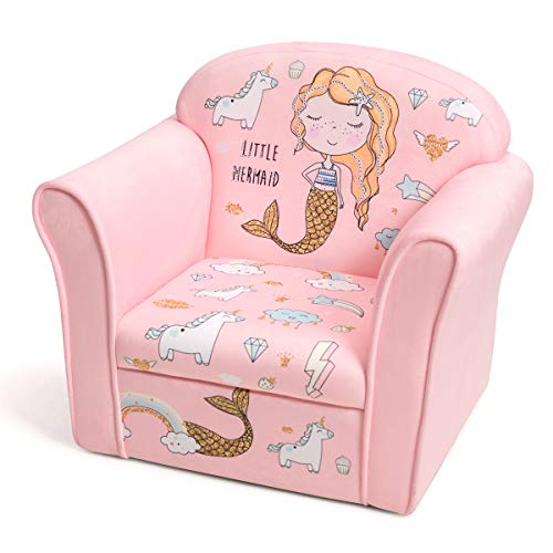 HONEY JOY Toddler Couch, Cozy Kids Sofa with Fun Cartoon Character, Toddler Furniture with Linen Fabric & Sturdy Wood Construction, Toddler Chair for Boys Girls(Pink Mermaid)