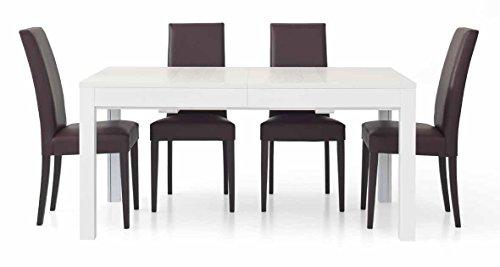 Legno&Design Table rectangulaire blanche frêne avec 4 rallonges
