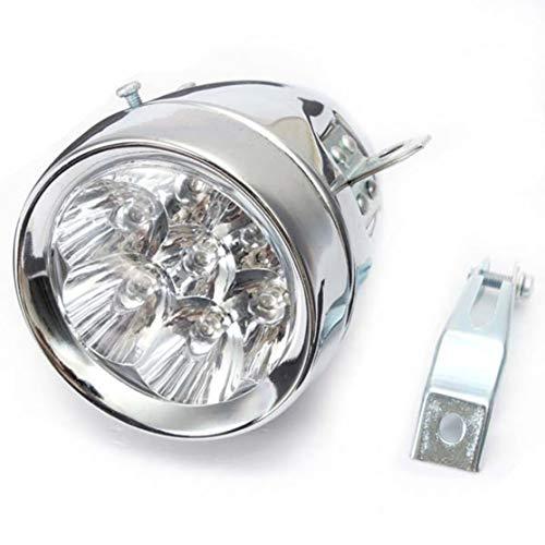 Kaemma Vintage fiets licht koplamp batterij 7 LED koplamp met houder batterijen veiligheid nacht rijlicht (kleur: zilverkleurig)