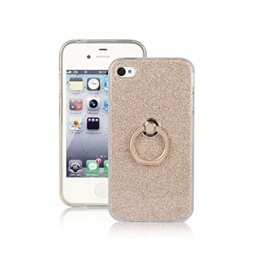 Sangrl Ring Funda para iPhone 4G / iPhone 4S, 360 Grados Giratorio Ring Grip Caso con Purpurina TPU de Silicona Suave Funda Case Gold