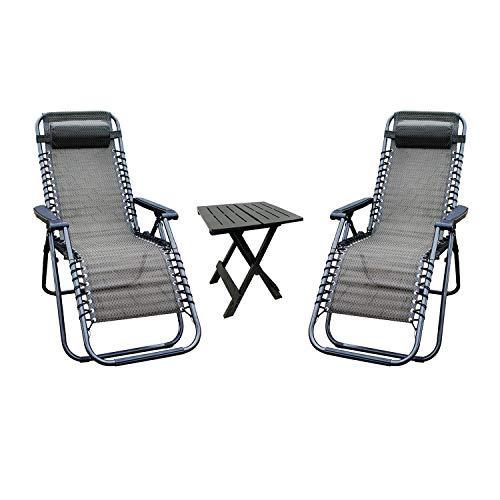 Mojawo 3-teilige Garten Camping Garnitur Campingmöbel Outdoor Beistelltisch Klappstühle Relaxstuhl Liegestuhl Relaxsessel