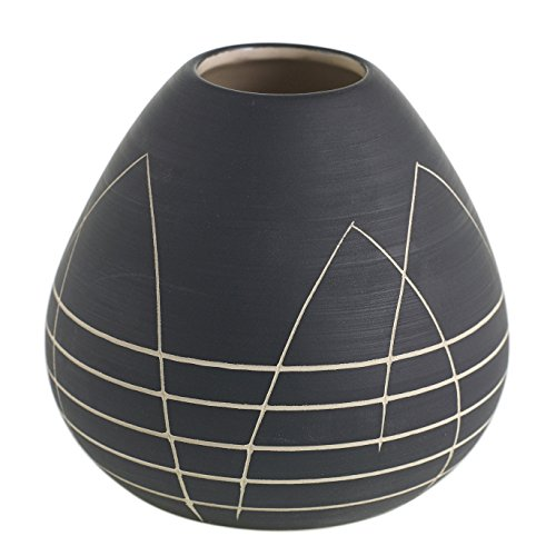 Black Round Bud Vase w/ Etched White Design - 4 x 4 Inches - Everlane Short Matte Pot w/ Geometric Pattern - Global and Modern Vase Decor for Home or Office