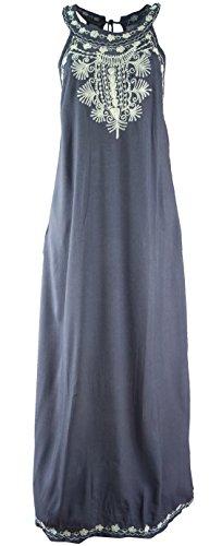 Guru-Shop Langes Boho Sommerkleid, Indisches Maxikleid, Damen, Blaugrau, Synthetisch, Size:40, Lange & Midi-Kleider Alternative Bekleidung
