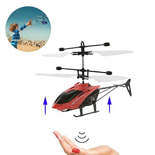 Wudi 1CP Mini-RC helicóptero Que volaba Aviones de Control Remoto por Radio Parte de inducción Micro-helicópteros eléctricos Regalo de los niños de Juguete (Rojo)