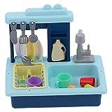 Elektrische Spülmaschine Spielzeug, Spielküche Küche Spüle Spülmaschine Spielzeug für Heimkindergarten(46 * 28 * 12cm-Blue)