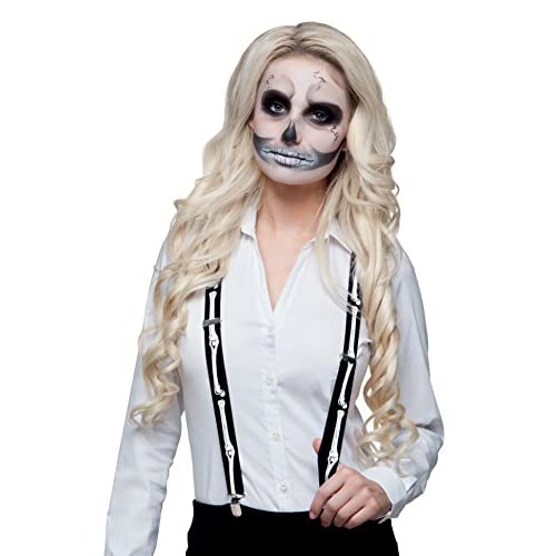 Boland- Bretelle Skeleton per Adulti, Nero/Bianco, Taglia Unica, 72071