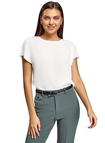 oodji Ultra Damen Lässige Bluse mit Tropfenausschnitt am Rücken, Weiß, DE 34 / EU 36 / XS