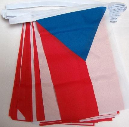 AZ FLAG Guirnalda 6 Metros 20 Banderas de la REPÚBLICA Checa 21x15cm - Bandera Checa 15 x 21 cm - BANDERINES