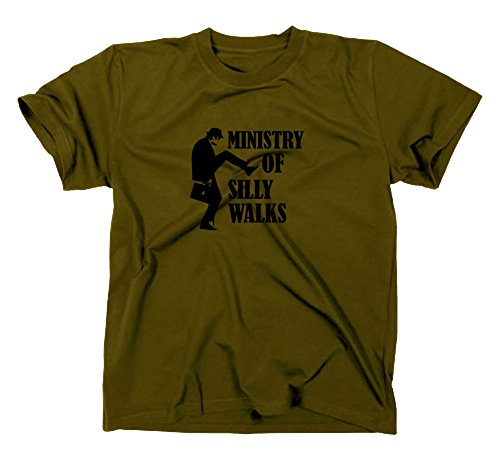 #1 Monty Python Fun T-Shirt, Silly Walks Funshirt, Oliv, M
