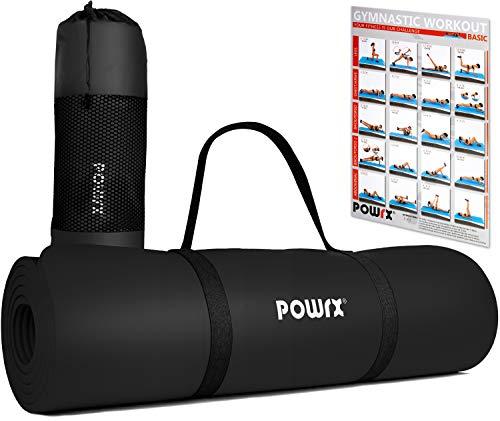 POWRX Gymnastikmatte Yogamatte inkl. Übungsposter I Trainingsmatte Phthalatfrei 183 x 60 x 1 cm I Matte hautfreundlich I versch. Farben (Schwarz)