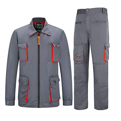 Yukirtiq Homme Ensemblesde Travail, Cargo Pantalon avec Poches Manteau de Travail, Multifonctionelle Veste de Travail pour Homme, Multi Poches Blouson de Travail (S, Gris)