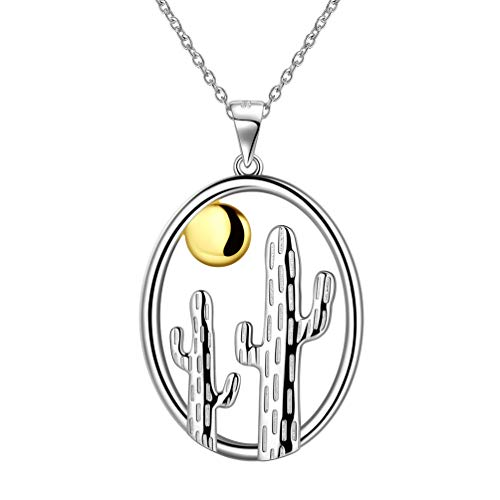 Plant Cactus Pendant Necklace for Women Girls 925 Sterling Silver 18K Gold Two Tones Cactus Sun Necklace Oval Pendant Neckalce Boho Jewelry Birthday Gift for Girlfriend Wife Gift FP0165F