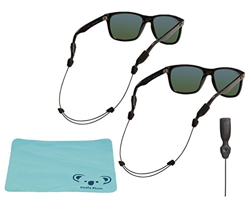Chums Orbiter Adjustable Eyewear Retainer Wire Sunglass Strap | Thin Eyeglass and Sports Glasses Cable Holder Keeper Lanyard | 2pk Bundle + Cloth, Black