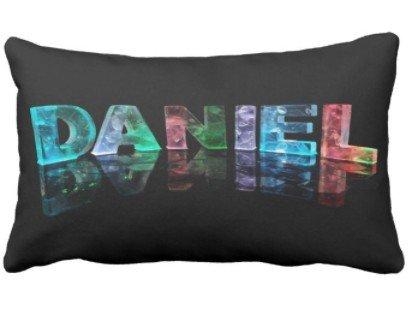 perfecone Home Improvement Funda de almohada 3D Light Letter Daniel para sofá y coche 1 paquete de 19.68 x 35.4 pulgadas / 50 cm x 90 cm