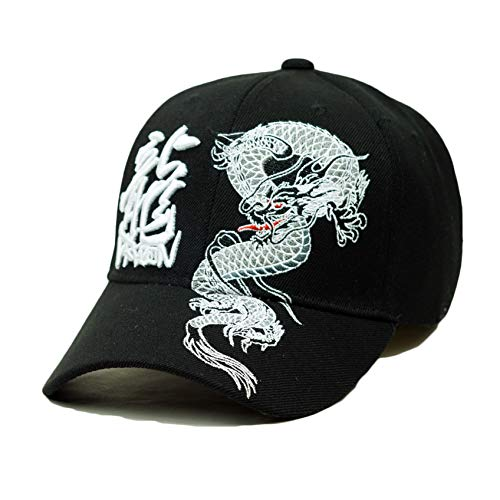 Dragon Chinese Character Embroidery Hat Adjustable Oriental Baseball Cap (Black)