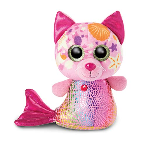 NICI 46825 Original-Glubschis Meerjungfrau Katze Aqua-Marie 15cm-Kuscheltier Augen – Flauschiges Plüschtier mit großen Glitzeraugen – Schmusetier für...
