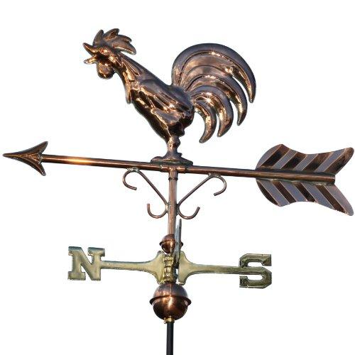 Linneborn 3D Wetterfahne krähender Wetterhahn aus Kupfer inkl. Befestigung. Windrichtungsanzeiger, Windspiel