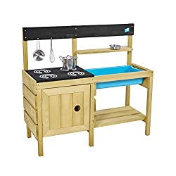 The TP Junior Chef Wooden Mud Kitchen is made from FSC certified timber Two station kitchen, with wet and dry activity areas, plenty of room for 2 children to play Includes easy to remove generously sized splash tub, a starter set of stainless steel ...