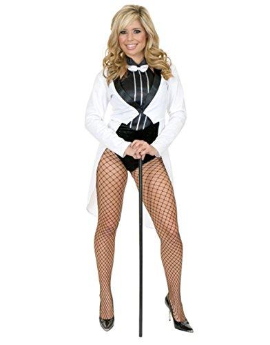 Women's Large 11-13 Miss Formalities White Tuxedo with Black Bodysuit Costume