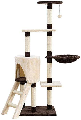 Cat Tree,Cat Tower Cat Condo Large Cat Climbing Frame Strong And Stable Trampoline Cat Litter Stairs Unique Shape Sisal Props Flannel Brown + Beige Cat Tree