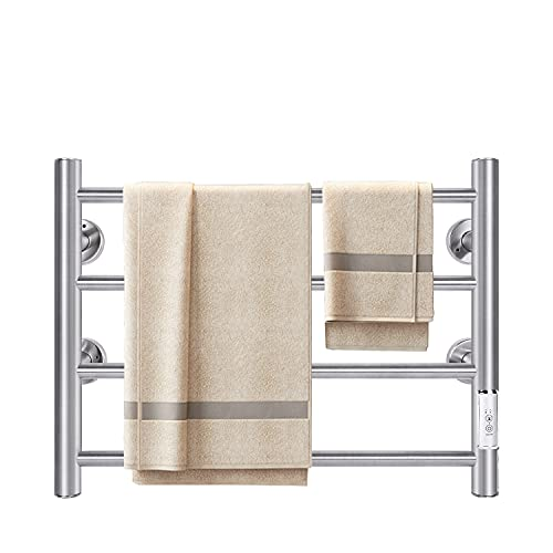 JSLOVE Towel Warmer Wall Mounted Heated Towel Racks for Bathroom, Stainless Steel Hot Towel Rack with Timer (4 Bars Brushed)